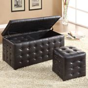 HomeVance 3-pc. Storage Ottoman Set
