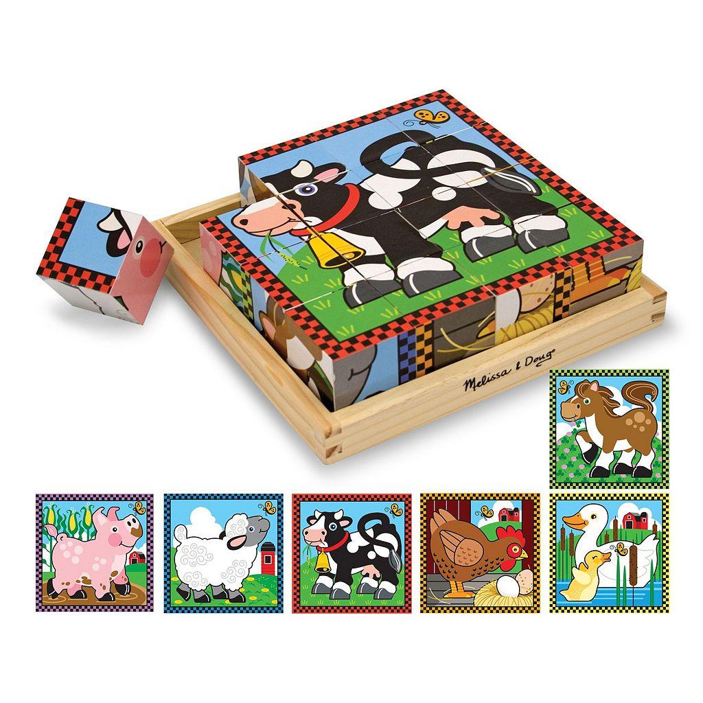 Melissa & Doug Farm Wood Cube Puzzle