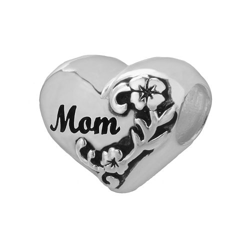 """Individuality Beads Sterling Silver """"Mom"""" Flower Heart Bead"""