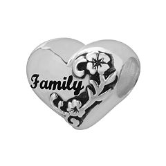 Individuality Beads Sterling Silver 'Family' Flower Heart Bead