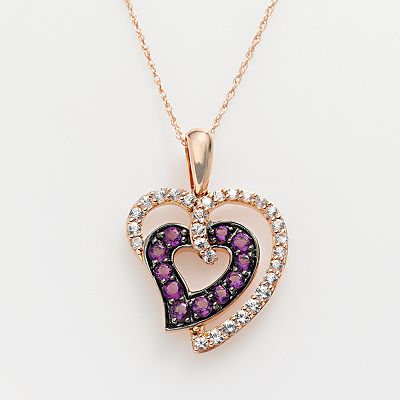 14k Rose Gold White Sapphire and Amethyst Heart Pendant