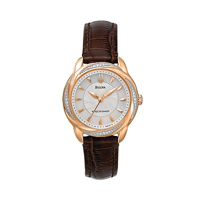 Bulova Precisionist Brightwater Stainless Steel Rose Gold Tone Diamond Accent & Mother-of-Pearl Leather Watch - 98R152 - Women