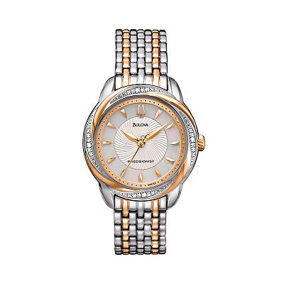 Bulova Precisionist Brightwater Stainless Steel Two Tone Diamond Accent & Mother-of-Pearl Swirl Watch - 98R153 - Women