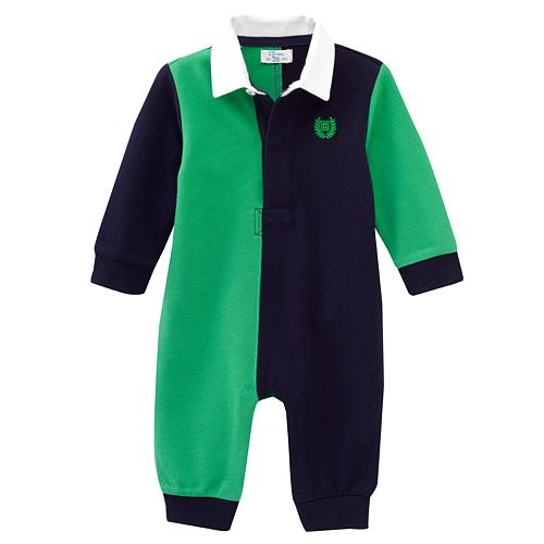 Chaps Colorblock Rugby Polo Coveralls - Baby