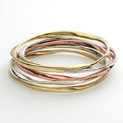 SONOMA life + style Tri Tone Hammered Bangle Bracelet Set