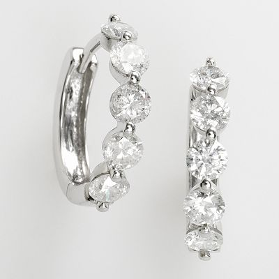 14k White Gold 1-ct. T.W. IGI-Certified Diamond Five-Stone Hoop Earrings