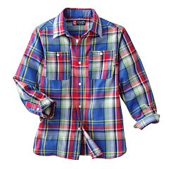 Chaps Plaid Twill Work Button-Down Shirt - Boys 4-7