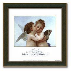 'L'Amour et Psyche, enfants' Framed Canvas Art By William-Adolphe Bouguereau - 14' x 14'
