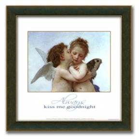 L'Amour et Psyche, enfants Framed Canvas Art By William-Adolphe Bouguereau - 14 x 14