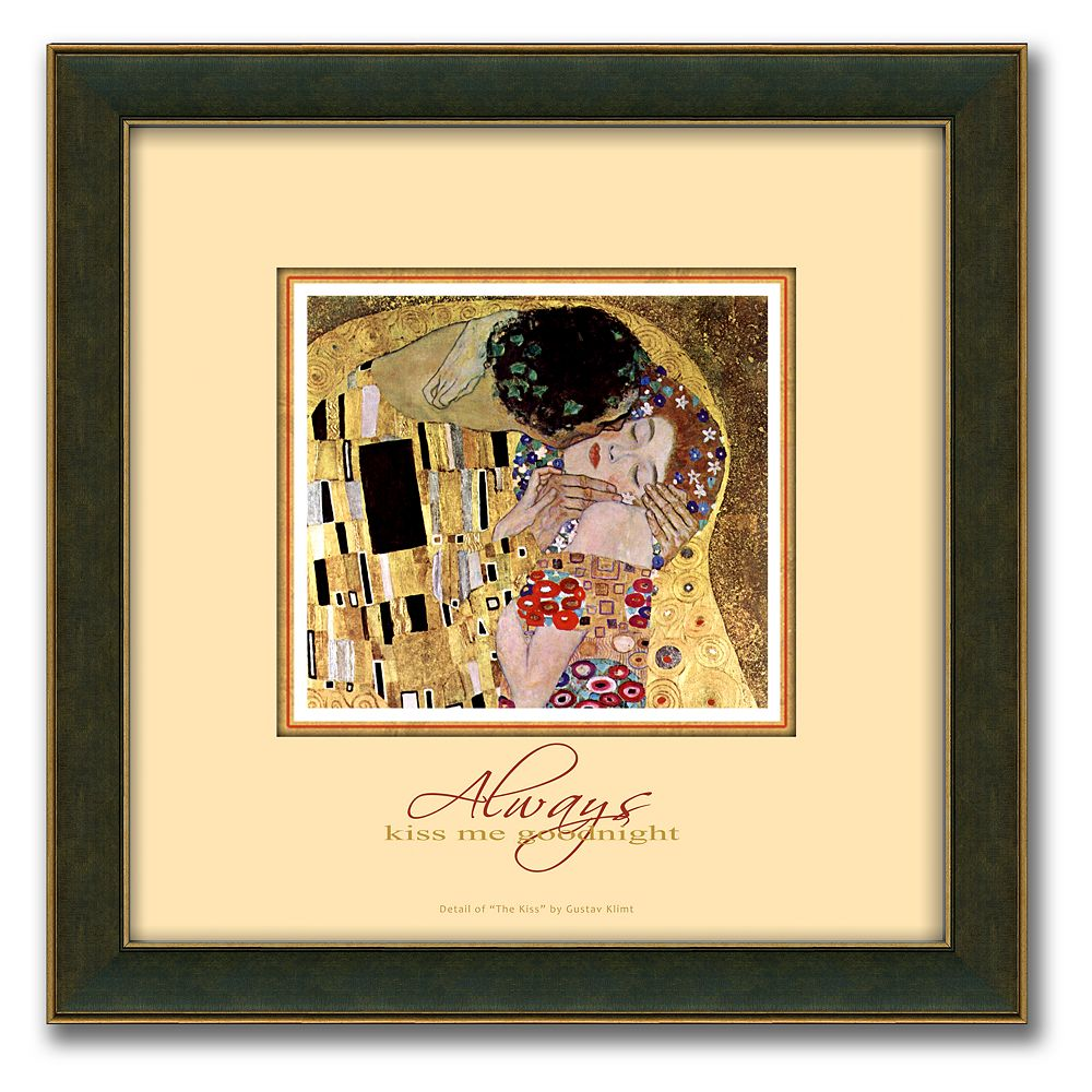 """The Kiss"" Framed Canvas Art By Gustav Klimt - 14"" x 14"""