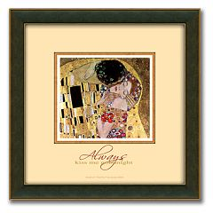 'The Kiss' Framed Canvas Art By Gustav Klimt - 14' x 14'