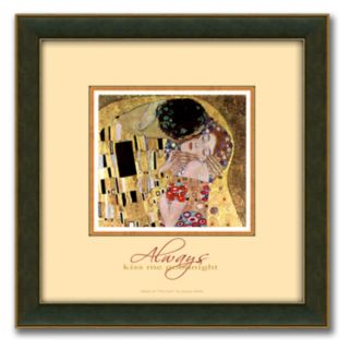 The Kiss Framed Canvas Art By Gustav Klimt - 14 x 14
