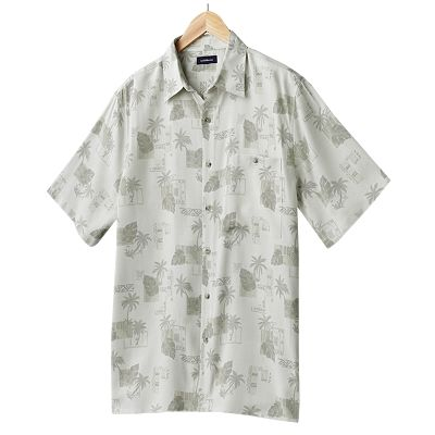 Croft and Barrow Island Collection Tropical Tonal Casual Button-Down Shirt - Big and Tall