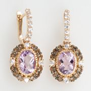 14k Rose Gold Pink Amethyst, White Sapphire and Smoky Quartz Oval Drop Earrings