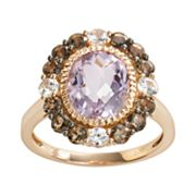 14k Rose Gold Pink Amethyst, White Sapphire and Smoky Quartz Oval Frame Ring
