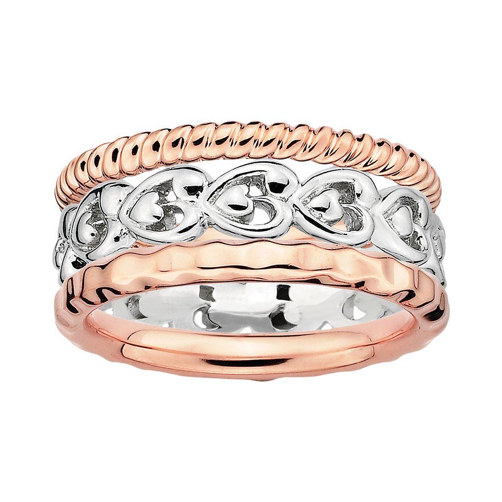 Stacks & Stones 18k Rose Gold Over Silver & Sterling Silver Heart Stack Ring Set