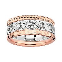 Stacks & Stones 18k Rose Gold Over Silver & Sterling Silver Heart Stack Ring Set