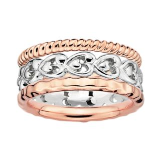 Stacks and Stones 18k Rose Gold Over Silver and Sterling Silver Heart Stack Ring Set