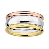 Stacks & Stones 18k Gold Over Silver & Sterling Silver Tri-Tone Stack Ring Set