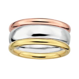 Stacks and Stones 18k Gold Over Silver and Sterling Silver Tri-Tone Stack Ring Set