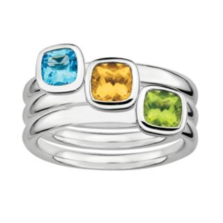 Stacks and Stones Sterling Silver Peridot, Citrine and Blue Topaz Stack Ring Set