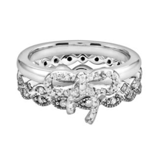 Stacks and Stones Sterling Silver 3/7-ct. T.W. Diamond Bow and Infinity Stack Ring Set