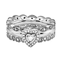 Stacks & Stones Sterling Silver 3/5 ctT.W. Diamond Heart & Infinity Stack Ring Set