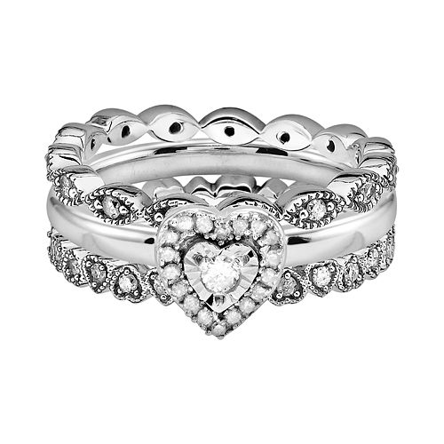 Stacks & Stones Sterling Silver 3/5-ct. T.W. Diamond Heart & Infinity Stack Ring Set
