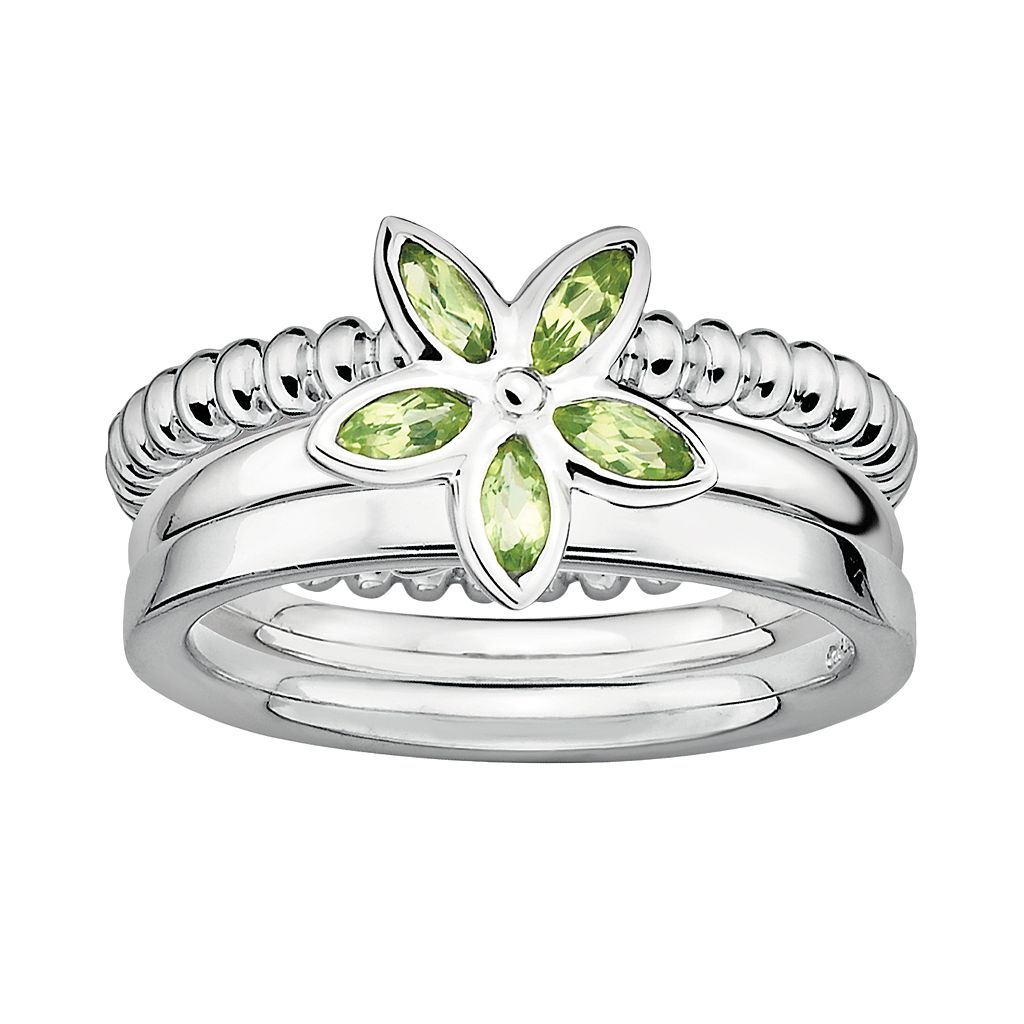 Stacks & Stones Sterling Silver Peridot Flower Stack Ring Set