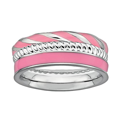 Stacks & Stones Sterling Silver & Pink Enamel Twist Stack Ring Set