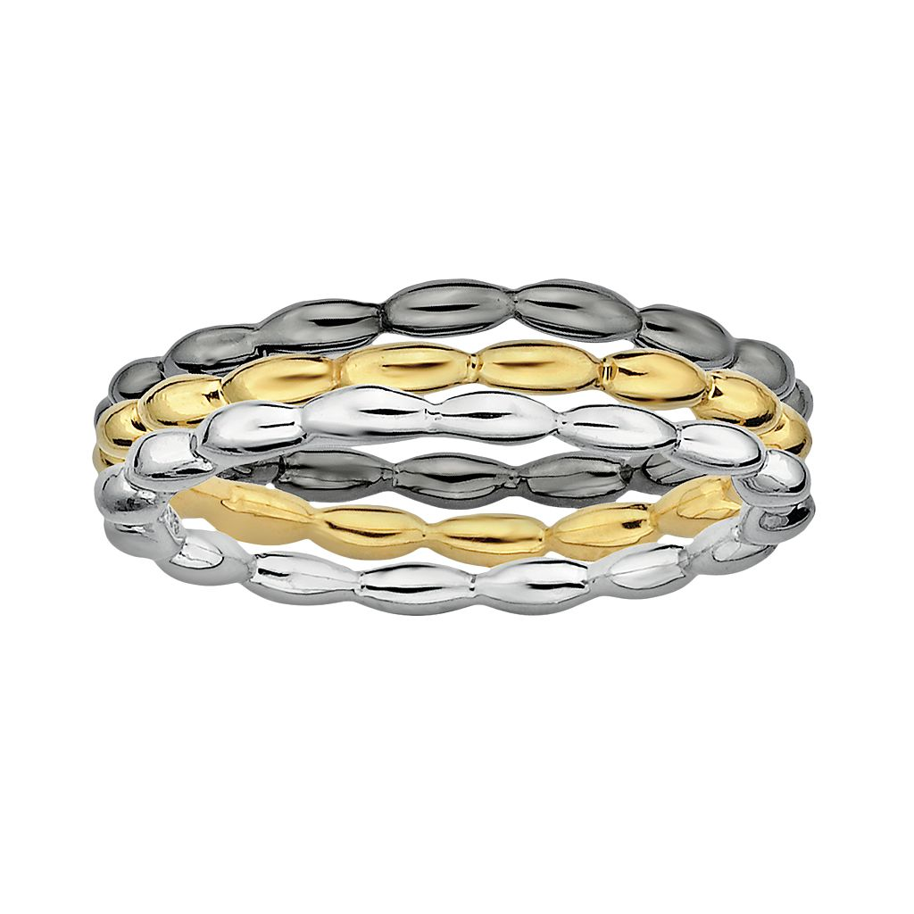 Stacks & Stones 18k Gold Over Silver, Sterling Silver & Ruthenium Over Silver Stack Ring Set