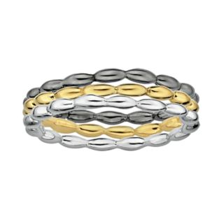 Stacks and Stones 18k Gold Over Silver, Sterling Silver and Ruthenium Over Silver Stack Ring Set
