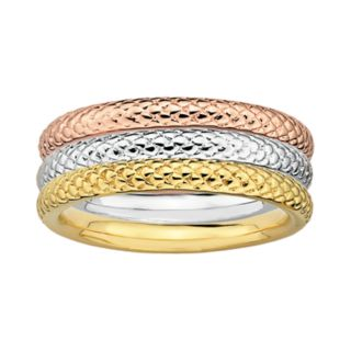 Stacks and Stones 18k Gold Over Silver and Sterling Silver Tri-Tone Textured Stack Ring Set