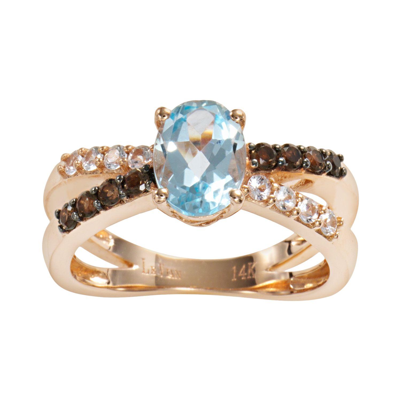 14Kt Rose Gold Plated Blue Topaz /& Diamond Round Ring