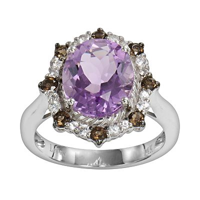 14k White Gold Amethyst, White Sapphire and Smoky Quartz Oval Ring