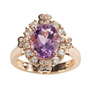 14k Rose Gold Pink Amethyst and White Sapphire Oval Frame Ring