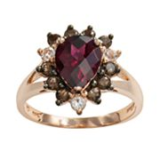 14k Rose Gold Rhodolite Garnet, White Topaz and Smoky Quartz Teardrop Ring