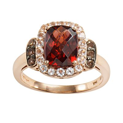 14k Rose Gold Rhodolite Garnet, White Topaz and Smoky Quartz Frame Ring