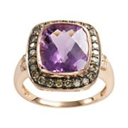 14k Rose Gold .44-ct. T.W. Brown Diamond and Amethyst Frame Ring
