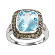 14k White Gold .44-ct. T.W. Brown and White Diamond and Blue Topaz Frame Ring