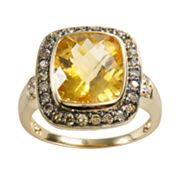14k Gold .44-ct. T.W. Brown and White Diamond and Citrine Frame Ring