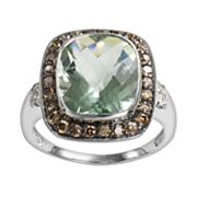 14k White Gold .44-ct. T.W. Brown and White Diamond and Green Amethyst Frame Ring