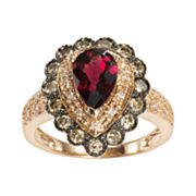 14k Rose Gold .57-ct. T.W. Brown and White Diamond and Rhodolite Garnet Teardrop Ring