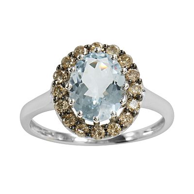 14k White Gold .35-ct. T.W. Brown Diamond and Aquamarine Oval Ring