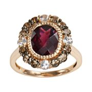 14k Rose Gold Rhodolite Garnet, White Sapphire and Smoky Quartz Oval Ring
