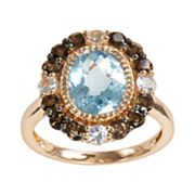 14k Rose Gold Blue Topaz, White Sapphire and Smoky Quartz Oval Ring