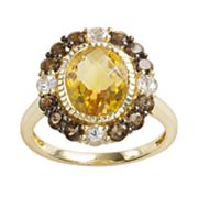 14k Gold Citrine, White Sapphire and Smoky Quartz Oval Ring
