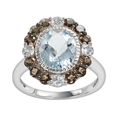 14k White Gold Aquamarine, White Sapphire and Smoky Quartz Oval Ring