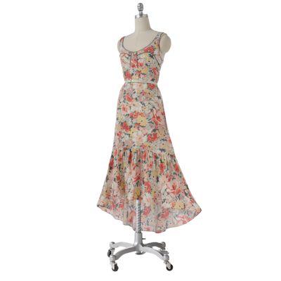 LC Lauren Conrad Floral Empire Hi-Low Maxi Dress