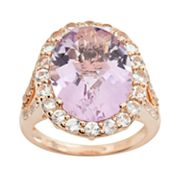 14k Rose Gold Amethyst and White Topaz Oval Ring